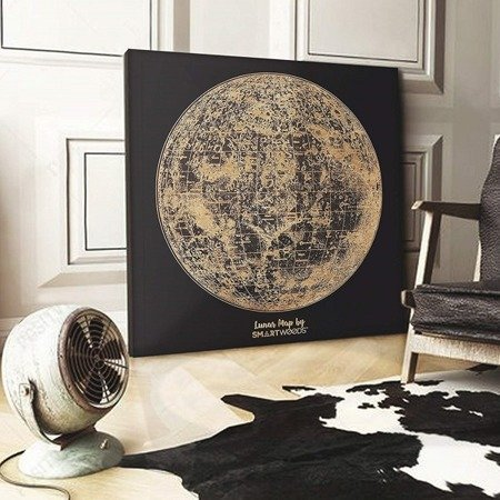 SMARTWOODS WALL DECORATION LUNAR MAP  DIMENSIONSY  90cm X 90cm