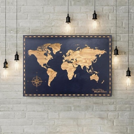 SMARTWOODS WALL DECORATION WORLD MAP DIMENSIONSY 120cm X 80cm