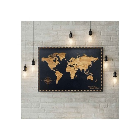 SMARTWOODS WALL DECORATION WORLD MAP DIMENSIONSY 85cm X59cm